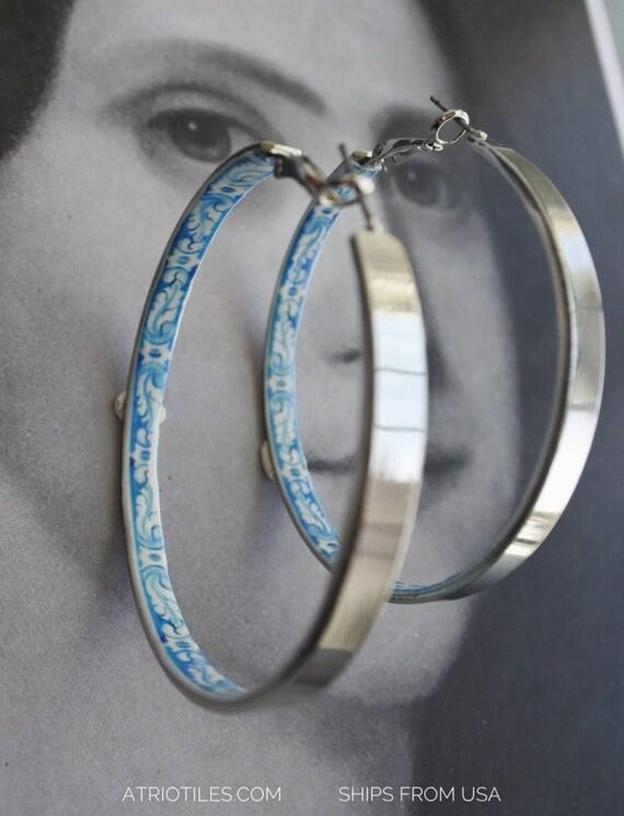 "Earrings Hoops Portugal  Antique Azulejo Tile HOOP Earrings University of Evora - Hidden Treasure - 2"" Ships from USA"