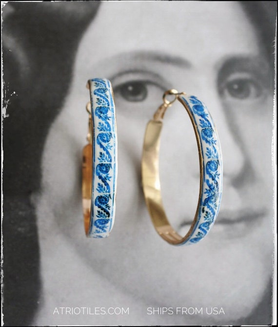 "Hoop Earrings Tile Portugal Antique Azulejo -  2""  BRAgA Blue Border! (see photo) gold tone"