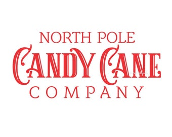 Candy Cane Decal, Christmas Sign, North Pole Sticker, Chalkboard sign Decal, Old Fashioned Candy, Christmas Candy Sign, Vinyl Lettering, New