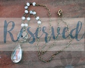 RESERVED - Escutcheon and Blue Quartz Necklace - found objects, thrifted, chandelier crystal, quartz, blue, antiqued brass chain, long