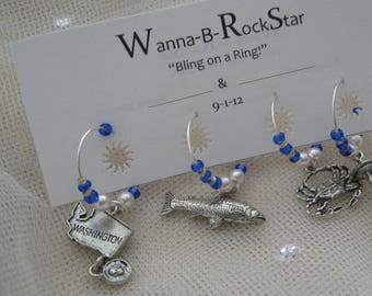 CUSTOMIZE Bride and Groom Favors for your Wedding -- 2 Wine Charms