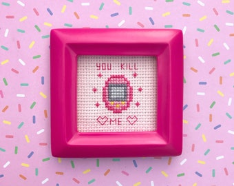 Tamagotchi Completed Cross Stitch