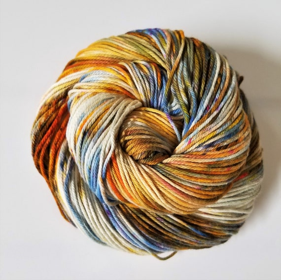 Rough Rider- 100% Organic Cotton, Hand Dyed, Sport Weight, Speckled Yarn