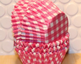 Pink Gingham Cupcake Liners (Qty 45) Pink Gingham Baking Cups, Pink Cupcake Liners, Pink Baking Cups, Pink Muffin Cups, Cupcake Liners