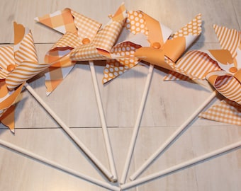 NEW - Lt Orange or Red Pinwheel Collection (Qty 12) Orange Pinwheels, Red Pinwheels, Pinwheel Centerpieces, Pinwheel Party Favors