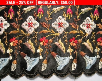 Antique French Silk Embroidered Trim