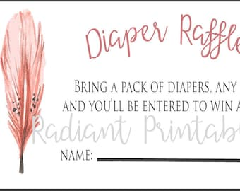 Diaper Raffle Ticket, Feather, Instant Download