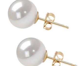 Graduation Gift - Akoya Pearl Earrings Studs AAAA 4.5mm-10mm Japanese White Akoya Stud Earrings 14K Solid Gold Earrings Free Shipping