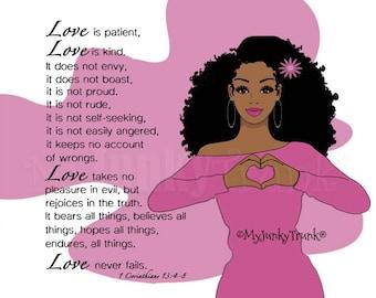 NEW! Love Is- African American Natural Hair Art Black Woman Art
