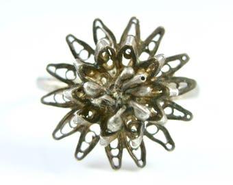 Size 6 1/4 Vintage Filigree Flower Sterling Silver Ring