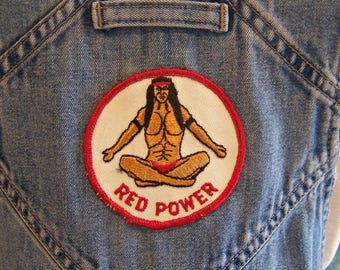 Overalls, Denim, Native American, Indian, Red Power, Patches, feathers, Blue, size M