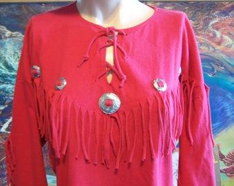 Western Shirt, Red, Fringe, Southwestern, Christmas, Long sleeve, Tee shirt, size M/L