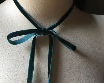 3 yds. TEAL Velvet Ribbon VERY Narrow for Bridal, Floral Design, Millinery, Jewelry or Costume Design VL 155tl