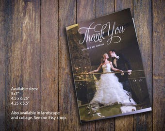 Digital Printable File for Photo Wedding Thank You Cards, Folded