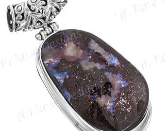 Gorgeous Australian Boulder Opal 925 Sterling Silver Pendant
