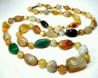 Vintage Agate Stone BEGGAR Beads.1960s .Authentic Hippie Necklace, 35 inch Strand of  Rust, Peach, Green SemiPrecious Agates w Brass Spacers