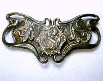 Signed Art Nouveau Belt Buckle, 2 Part C. 1900s Classic Design, Maybe Sterling Silver, C & R Hallmarked Logo, The Real Thing