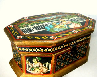 Folkloric Lovers Painted Wood Box, 1970s India, Miniatures w Hasp for Lock, Exotic Handpainted Jewelry Stash Treasures Hinged Box