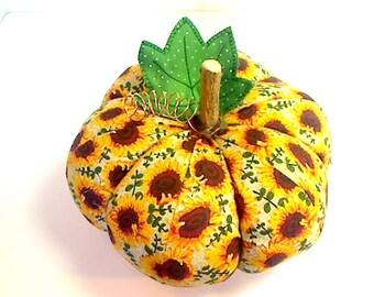 Size 9 |Sunflower Fabric Pumpkin |Fall harvest decor |Halloween Decor |Pumpkin Decor | Table Centerpiece | Folk Art | Handmade Gift | #9