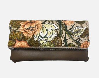 Foldover Clutch, Vegan Leather Clutch Bag, Fall Floral Clutch Purse, Ipad Kindle Case, Bridesmaid Gift, Gift for Her