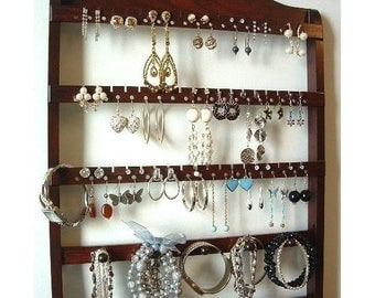 ON SALE Dark Mahogany Jewelry Organizer, Elegant Earring Holder, Necklace Display, Bracelet Organizer