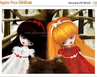 """50% Off SALE 5x7 Premium Art Print """"Snow White and Rose Red"""" Small Size Giclee Print of Original Artwork - Fairy Tale Fantasy Brown Bear"""