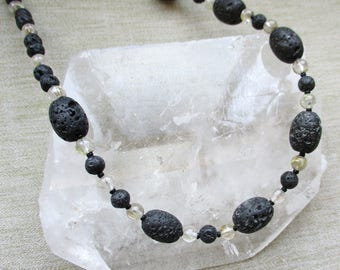 Lava Stone with Rutilated Quartz Necklace For Balance Now On Sale!