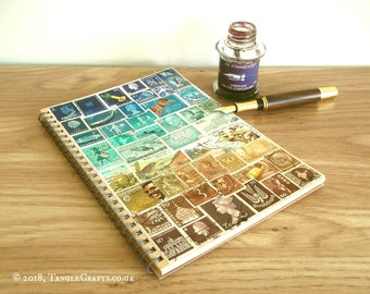 Beachy, Turquoise Brown A5 Travel Planner • Upcycled Stamp Art Cover