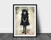 Goth lolita and spiders art print | Gothic home decor | Spiders wall hanging | Digital illustration | Large print | Lolita Wall art