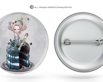 Pinback Button | Marie Antoinette | Badge Pin | Rococo | Art Badge | Button Art | Wearable Art | Pop Surrealism Badge | Choose Badge size
