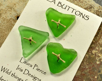 Three green hearts....a set of  naturally heart shaped sea glass buttons from the coast of Maine   statement for sweaters