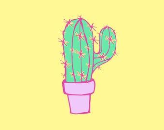 bright cactus art printable