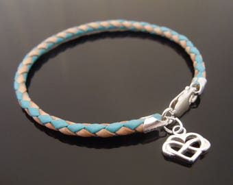 3mm Turquoise & Natural Braided Leather Bracelet With 925 Sterling Silver Infinity Heart Charm