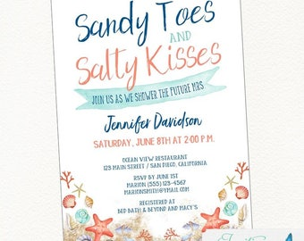 Beach Bridal Shower Invitation | Seashell, Couples Shower Beach Bridal Shower, Sandy Toes Salty Kisses