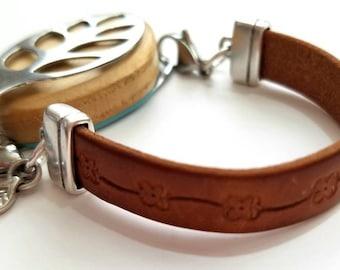 Bellabeat Leaf Bracelet Genuine leather .925 sterling silver leaf charm