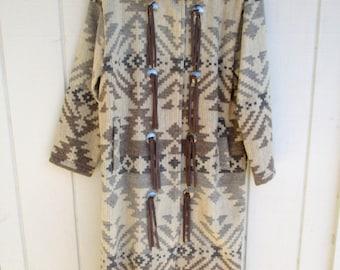 Vintage Woolrich Southwestern Navajo Aztec Style Festival Maxi Blanket Coat Jacket Conchos Cowgirl Western Women's Medium