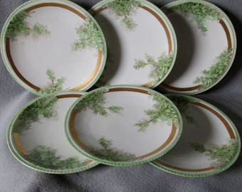 6 Antique French Limoges Hand Painted Plates with Ivy, Ginkgo Leaf Motif