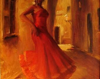 Spanish dancer, Original  oil painting 14x11 inches