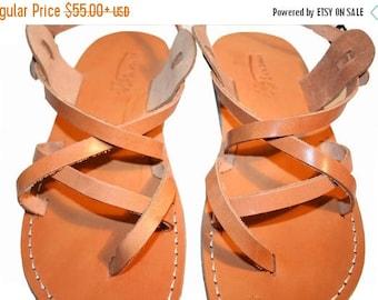 15% OFF Caramel Triple Leather Sandals For Men & Women - Handmade Sandals, Leather Flats, Leather Flip Flops, Natural Caramel Unisex Sandals