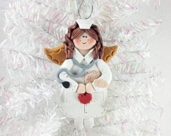 Nurse Angel Christmas Ornament - Nurse RN LPN CCRN Gift - Polymer Clay Nurse Angel Ornament - Thank You Gift for Nurse - 6107