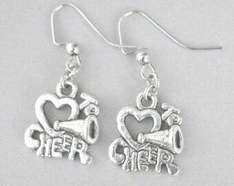 Cheerleader earrings, Love to Cheer earrings, antiqued silver, cheer mom gift
