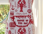 SALE Catch of the Day- Lobster Print Apron.  Womens/Mens Full Apron