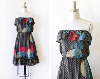 70s black floral dress, vintage strapless ruffled dress, 1970s disco dress, 80s mini dress, extra small xs