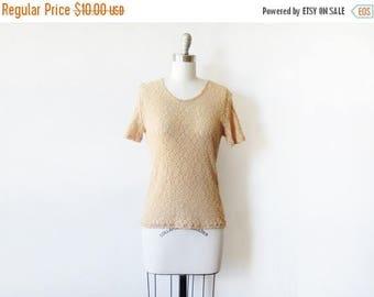 20% OFF SALE foral lace top, vintage 90s floral lace blouse, beige small flower lace shirt
