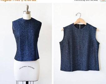 20% OFF SALE 60s metallic blouse, vintage 1960s blue and black lurex blouse, sparkle shell tank top, medium