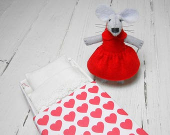 Valentine gift for her stuffed mouse gift for kids red heart plush mouse felt plush felt animal miniature mouse in a matchbox hand made doll