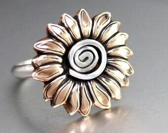 Yellow Sunflower Ring, Hip Sunflower Ring, Sterling Ring, Silver Band, Fall Ring, Flower Ring, Statement Ring, Mixed Metal Ring, Artisan