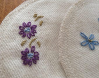 Organic Cotton nursing pads - hand embroidered