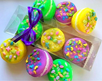 Easter Soap - Macaron Soap Gift Set of 3 - Easter Gift - Easter Gift for Mom - Lemongrass, Green Tea and Cucumber, Warm Vanilla Sugar