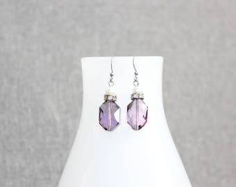 Boucles d'oreilles fantaisie, cristal, chic, boucles doreilles cristal, cristaux, mauve, brillant, perles, perles de verre, acier inoxydable